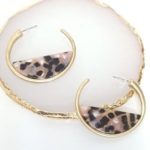 Boho Dangle Statement Earrings Half Circle Hoops